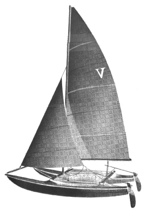 Venture 15 Catamaran (1970) drawing on sailboatdata.com