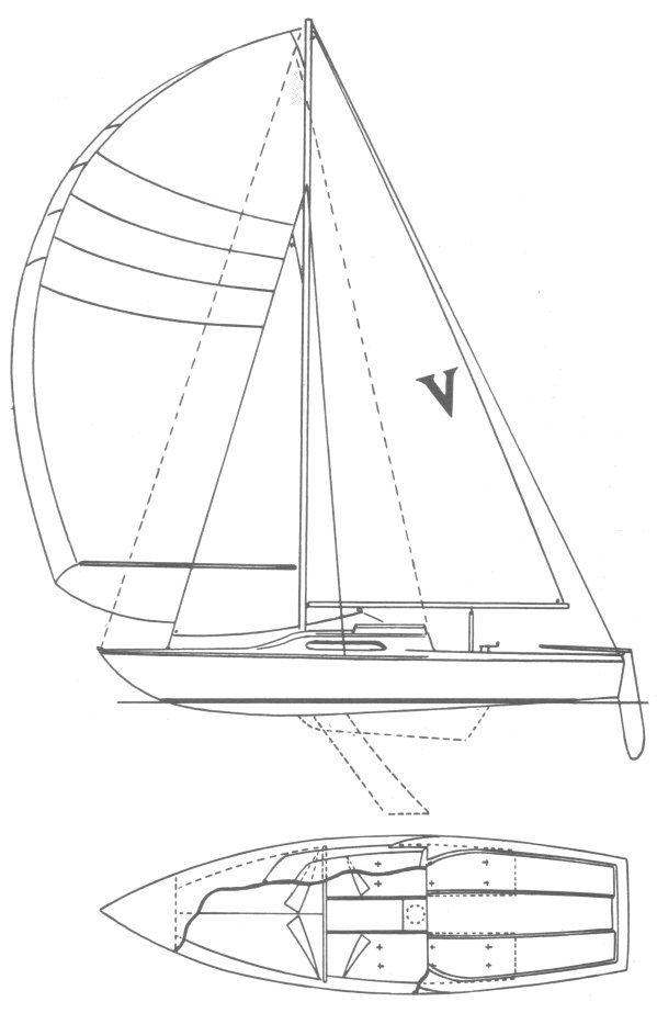 Venture 21 drawing on sailboatdata.com