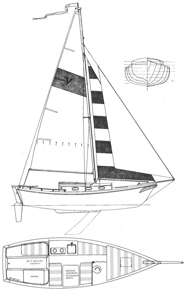 Venture 23 Newport drawing on sailboatdata.com