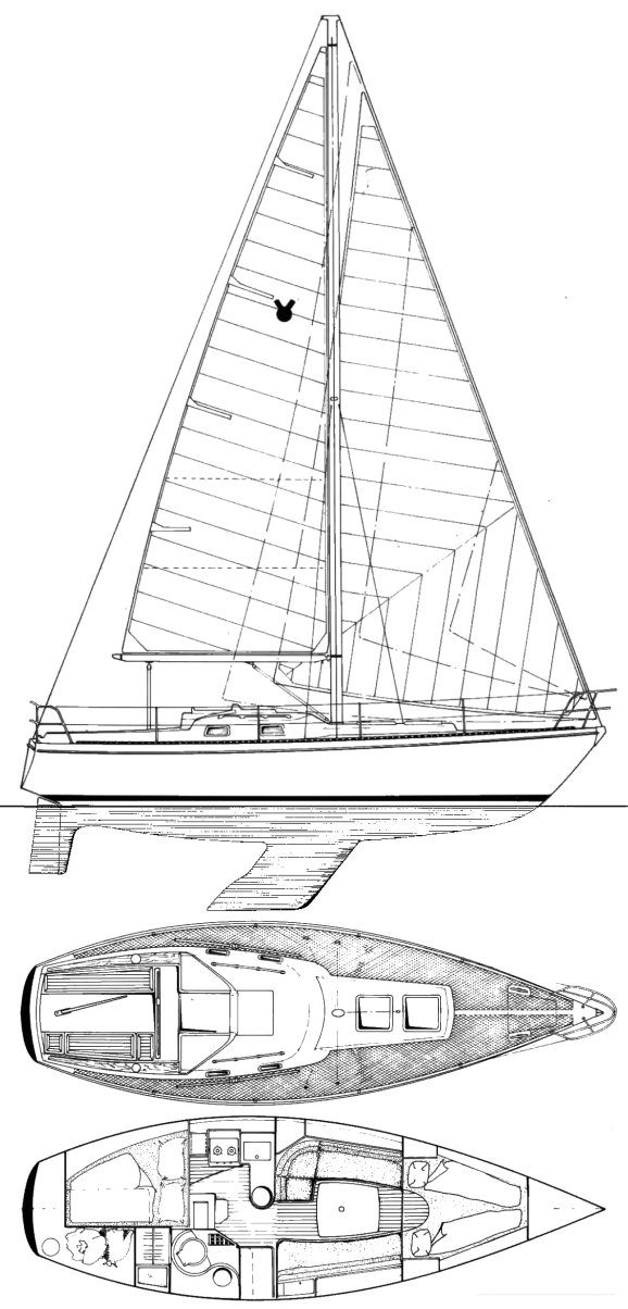 Victoire 933 drawing on sailboatdata.com