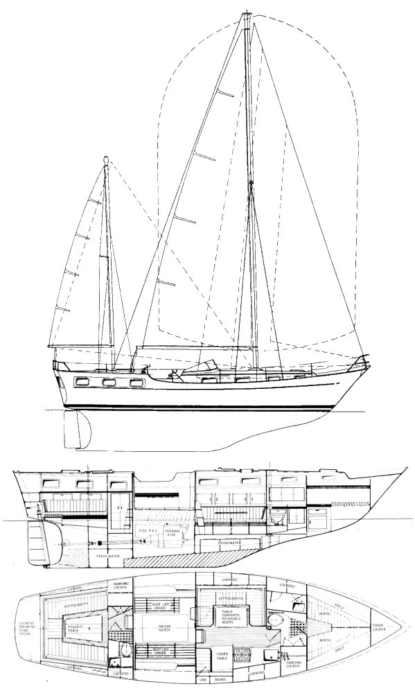 Victory 40 drawing on sailboatdata.com