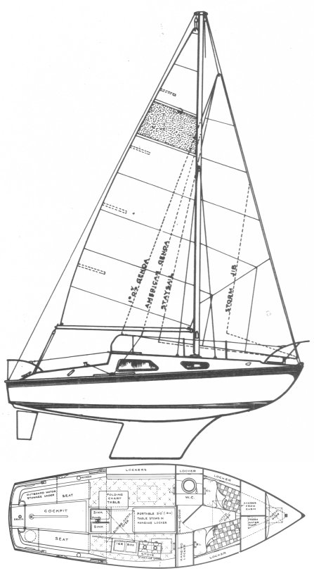 Vivacity 21 drawing on sailboatdata.com