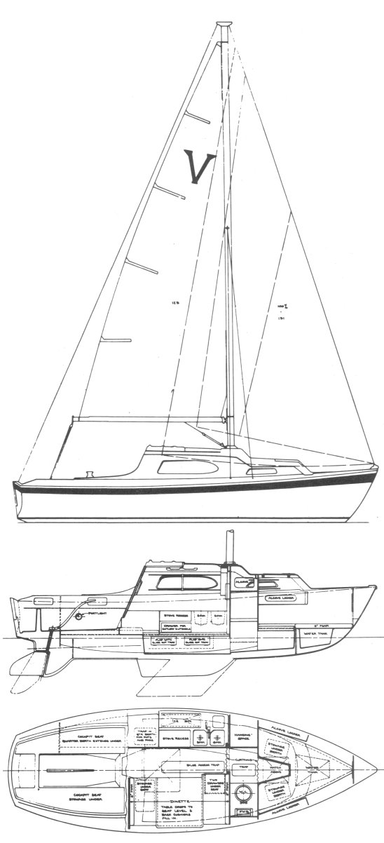 Vivacity 24 drawing on sailboatdata.com