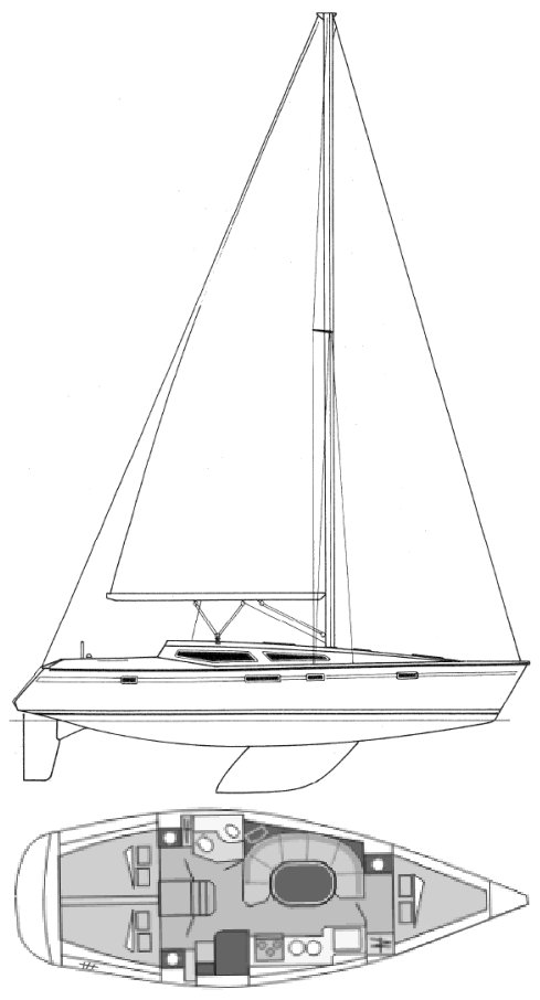 Voyage 11.2 (Jeanneau) drawing on sailboatdata.com