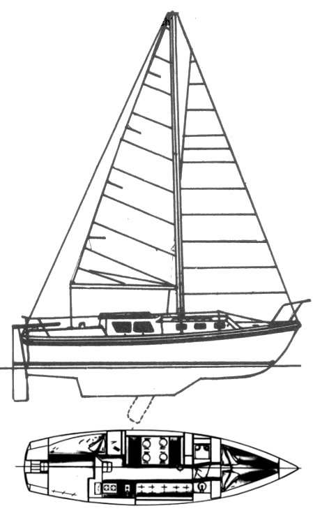 Voyager 30 (Luger) drawing on sailboatdata.com