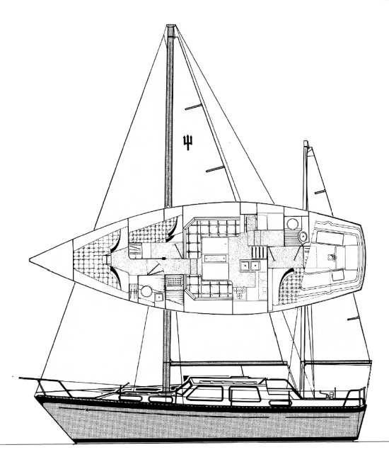 Voyager 39 (Trident) drawing on sailboatdata.com