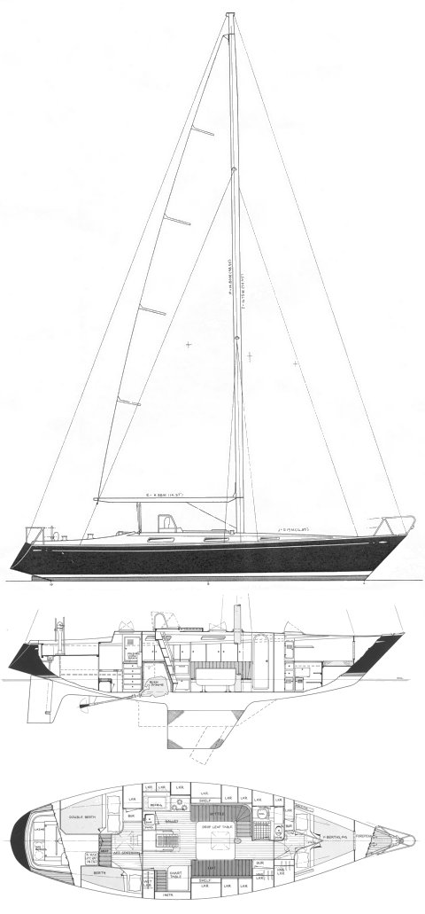 Walsted 42 drawing on sailboatdata.com