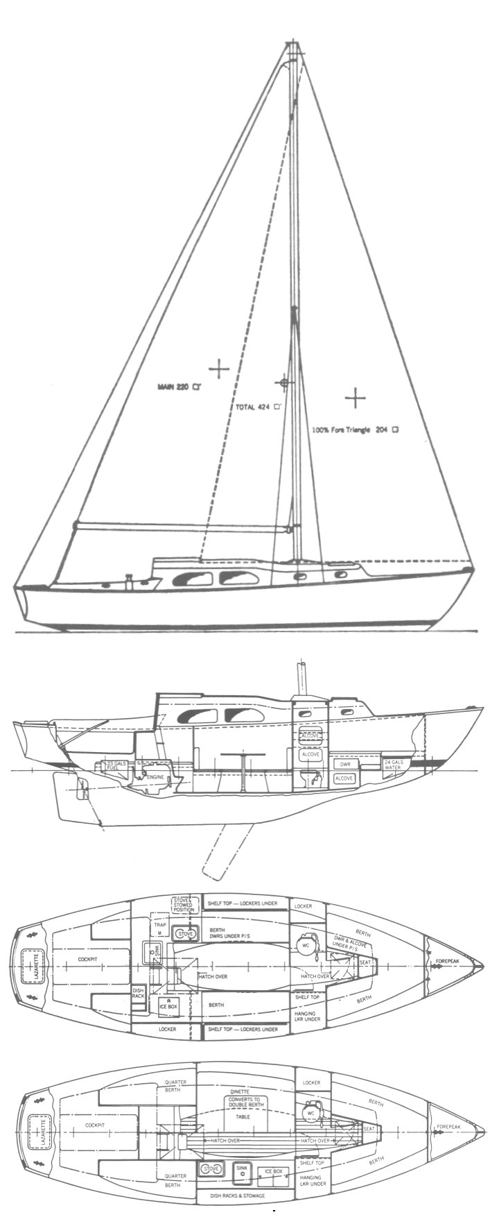 Wanderer 30 (Pearson) drawing on sailboatdata.com