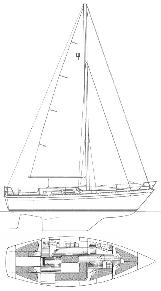 Warrior 38 (Trident) drawing on sailboatdata.com