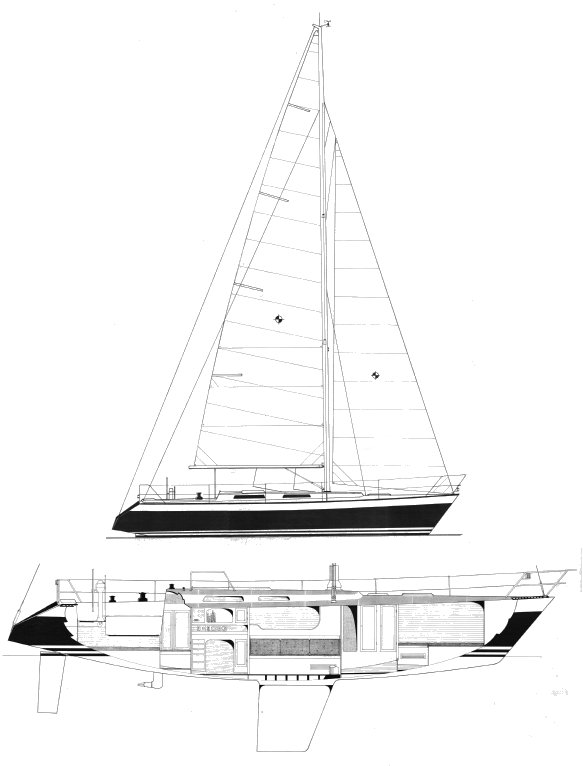 Wasa 360 drawing on sailboatdata.com