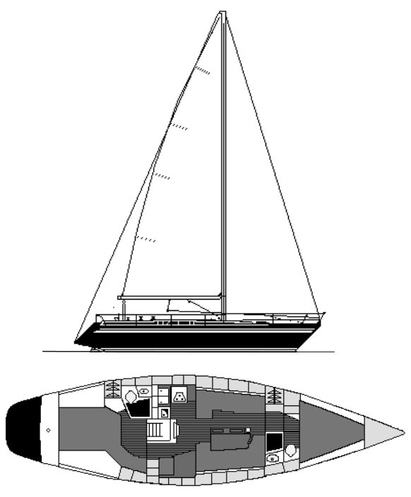 Wasa 420 drawing on sailboatdata.com