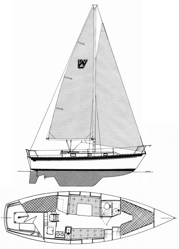 Watkins 32 drawing on sailboatdata.com