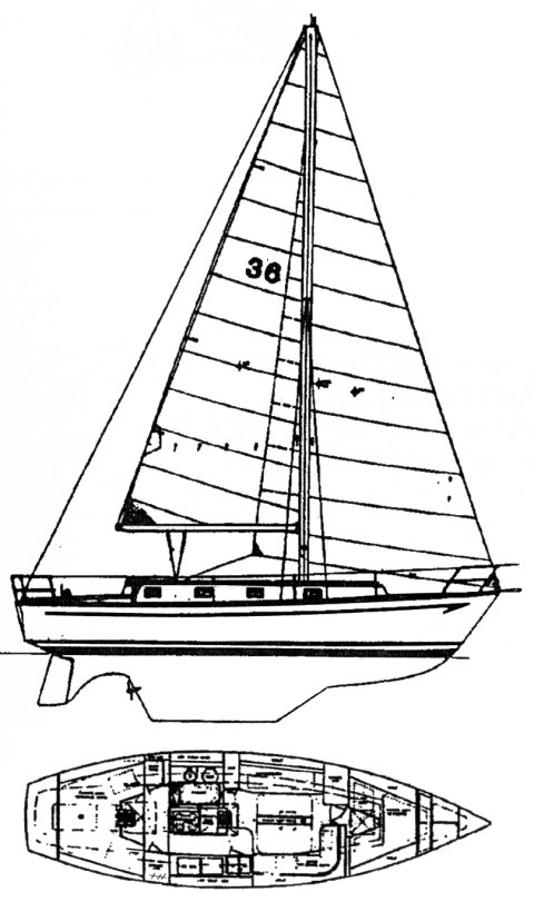 Watkins 36 AC drawing on sailboatdata.com