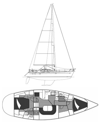 Wauquiez 43 PS drawing on sailboatdata.com