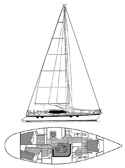 Wauquiez Pilot Saloon 48 drawing on sailboatdata.com