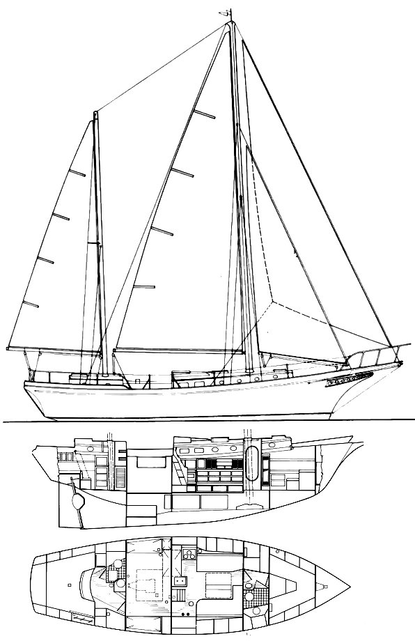 3 Seas 45 drawing on sailboatdata.com