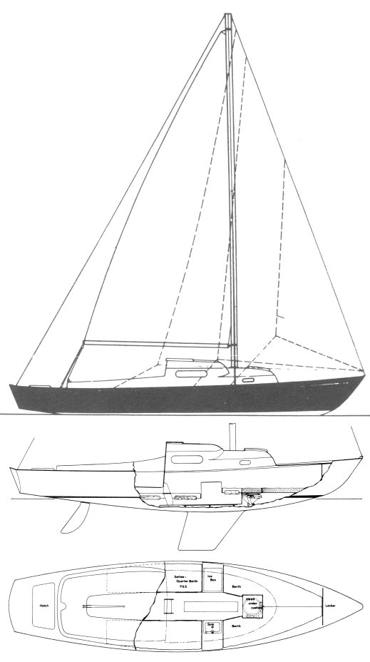 Weekender 24 (S&S) drawing on sailboatdata.com