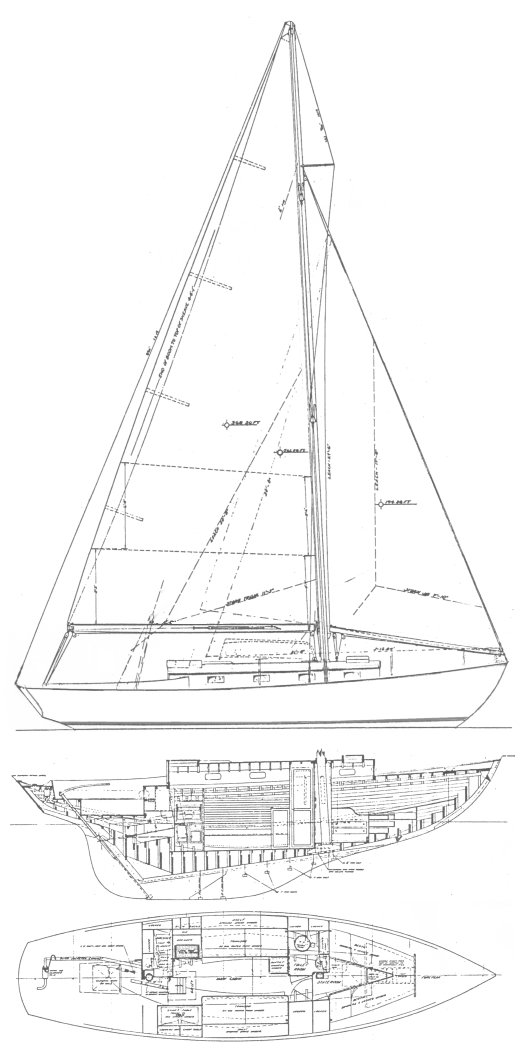 Weekender drawing on sailboatdata.com