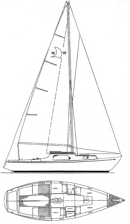 West Wind 24 (Paceship) drawing on sailboatdata.com