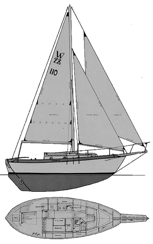 Westsail 28 drawing on sailboatdata.com