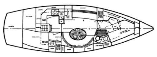 Westwind 38 layout drawing on sailboatdata.com