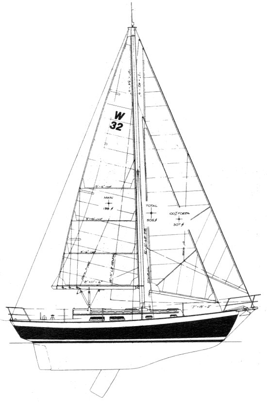 Whistler 32 (Cutter) drawing on sailboatdata.com