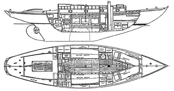Whistler Class (Rhodes) drawing on sailboatdata.com