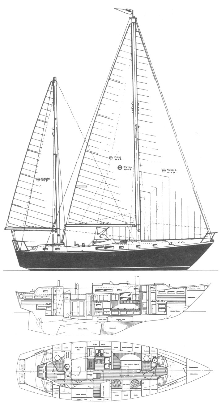 Whitby 42 drawing on sailboatdata.com