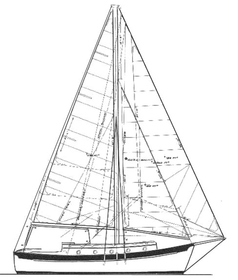 Willard 30 Cutter drawing on sailboatdata.com