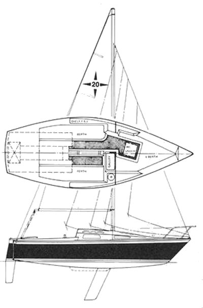 Windrose 20 drawing on sailboatdata.com