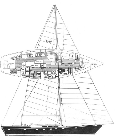 Windship 60 drawing on sailboatdata.com