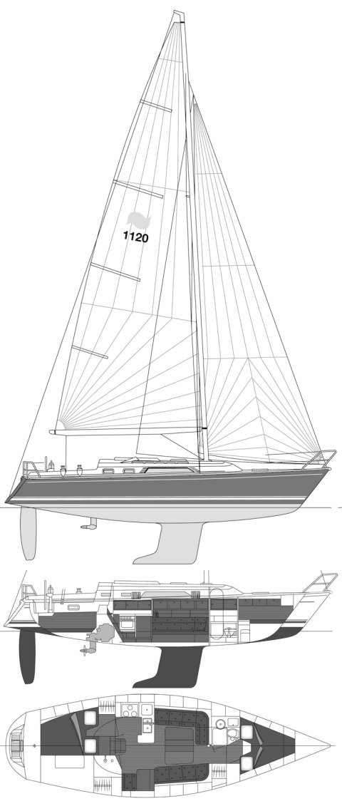 Winner 1120 drawing on sailboatdata.com