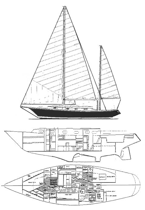 Wright 40 (Allied) drawing on sailboatdata.com