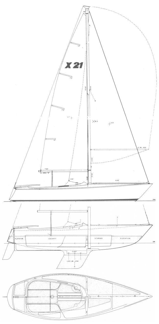 X-21 (Norton) MH drawing on sailboatdata.com