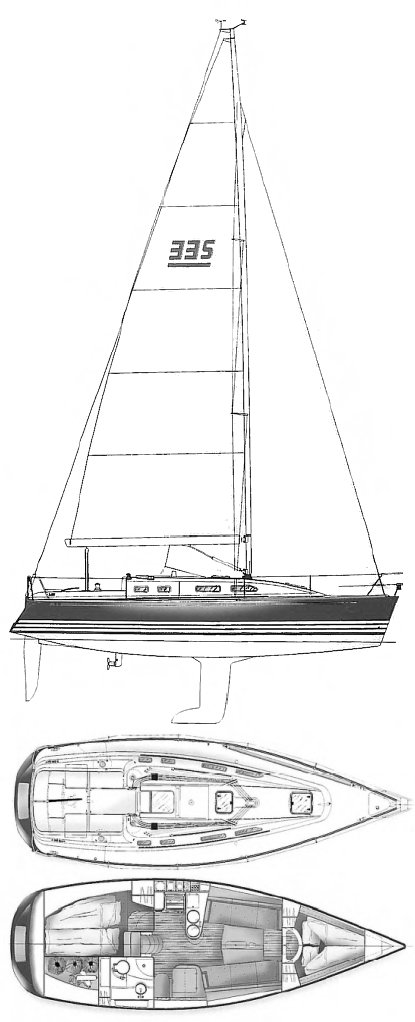 X-332 Sport drawing on sailboatdata.com