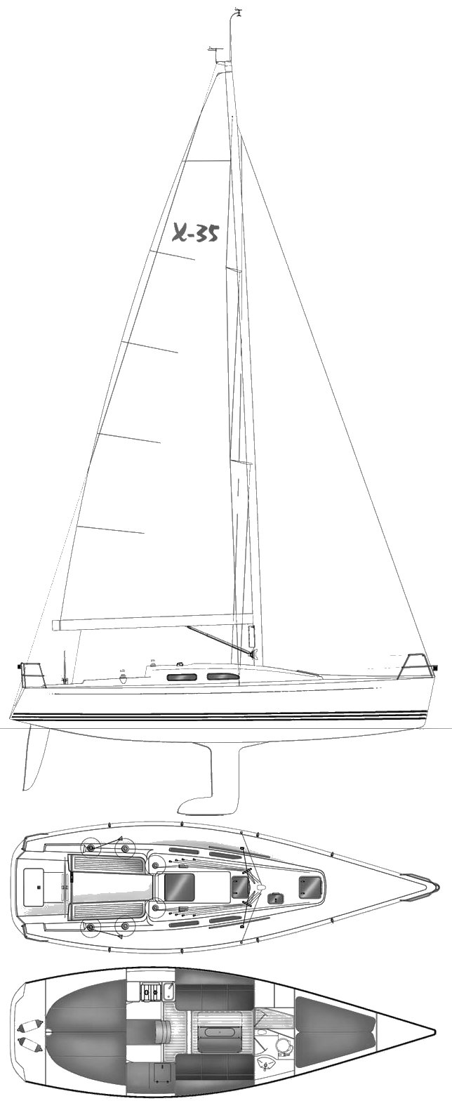 X-35 drawing on sailboatdata.com