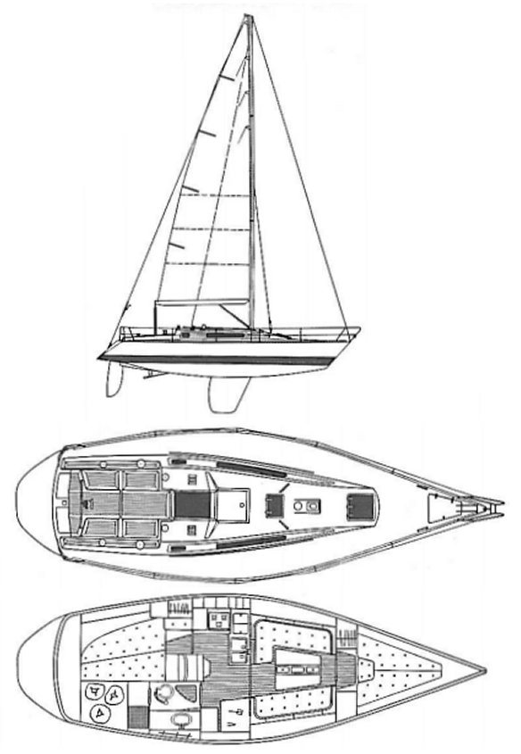 X-372 drawing on sailboatdata.com