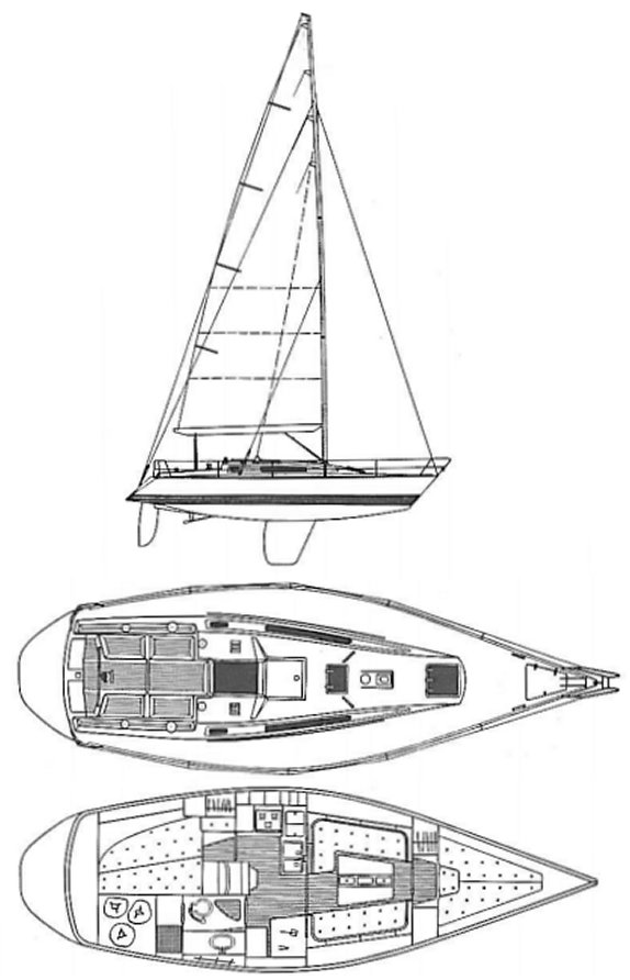X-372 Sport drawing on sailboatdata.com