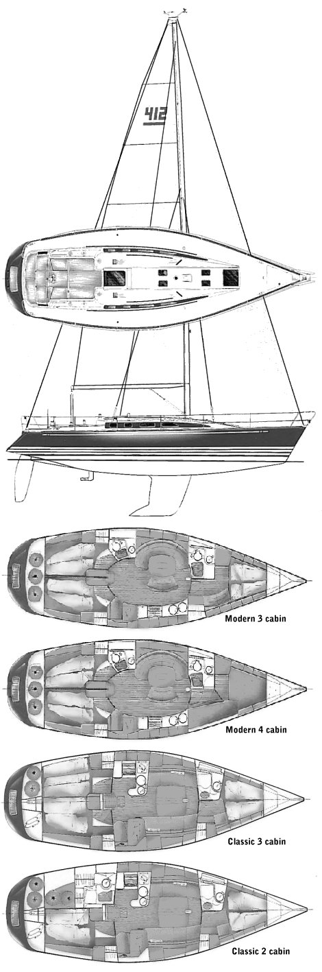 X-412 drawing on sailboatdata.com