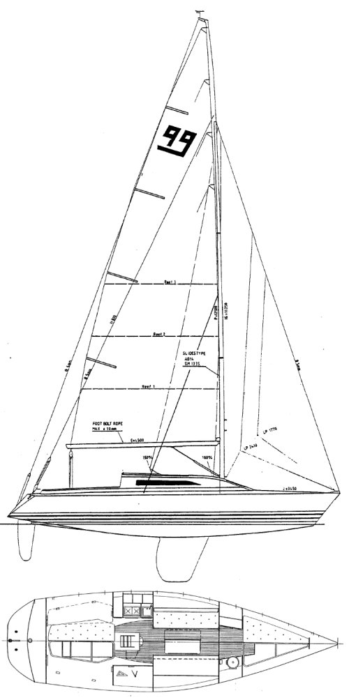 X-99 drawing on sailboatdata.com