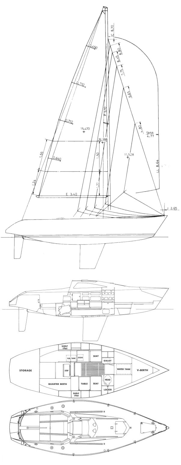 Yamaha 26 drawing on sailboatdata.com