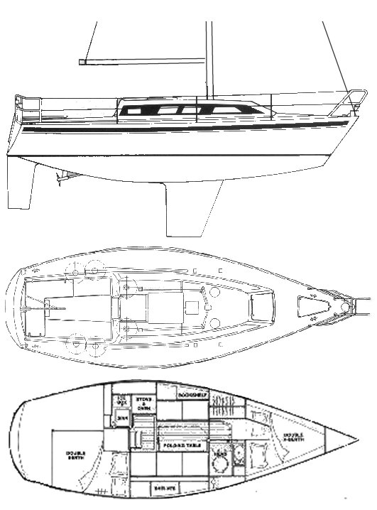 Yamaha 28 drawing on sailboatdata.com