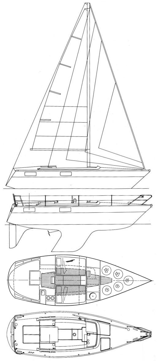 Yamaha 29 drawing on sailboatdata.com