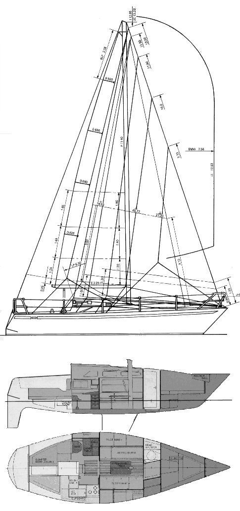 Yamaha 33 drawing on sailboatdata.com