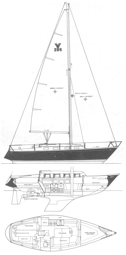 Yankee 26 drawing on sailboatdata.com