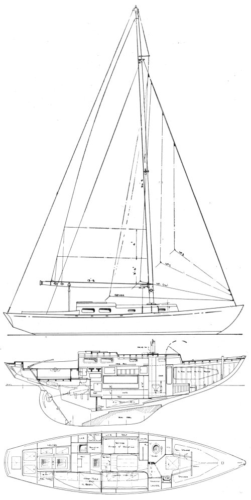 Yeoman 33 drawing on sailboatdata.com