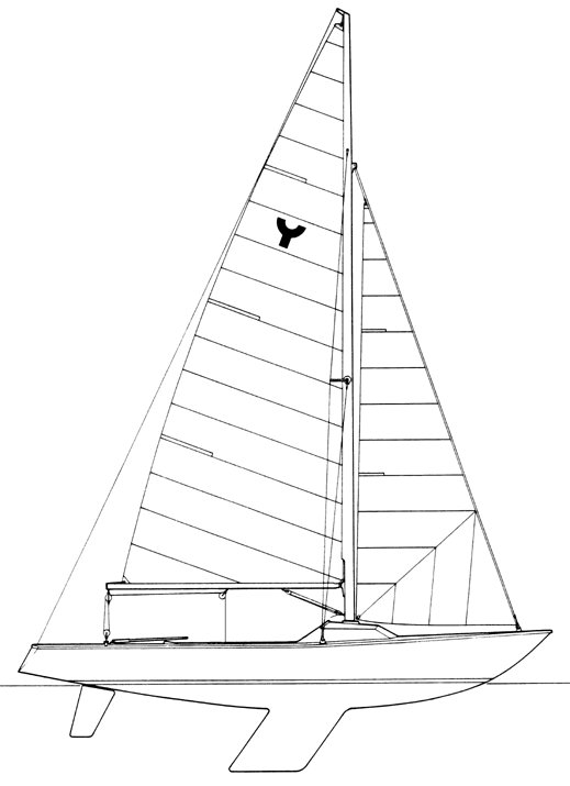 Yngling drawing on sailboatdata.com