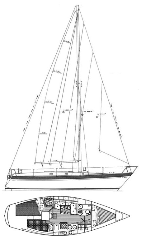 Zuanelli 34 drawing on sailboatdata.com